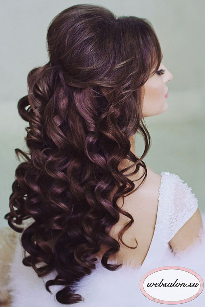 Long curly hairstyles half up half down