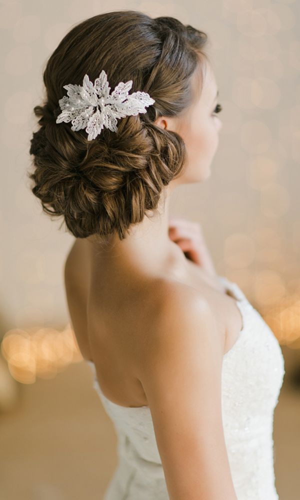 Bridal Updos And Wedding Hairstyle with Lace Headpiece / www.deerpearlflow...