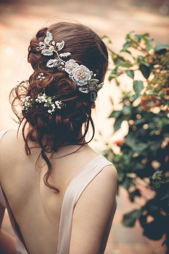 Messy wedding Updo with Bridal Headpiece / www.deerpearlflow...