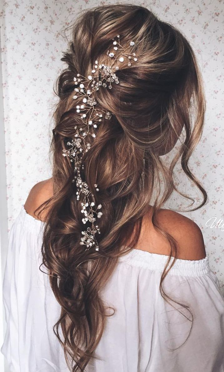 long pulled back loose waves wedding hairstyle