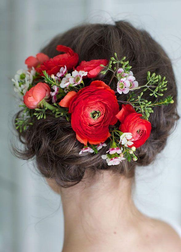 winter wedding hairstyle - red ranunculus crown for winter wedding / www.deerpea...
