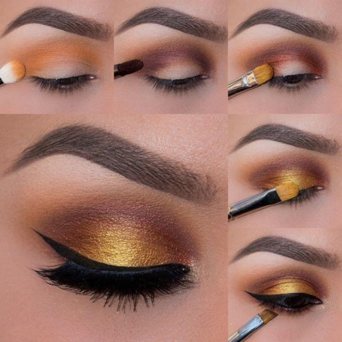 tuto maquillage yeux marrons, eye liner noir, fard à paupière jaune dorée, pi...