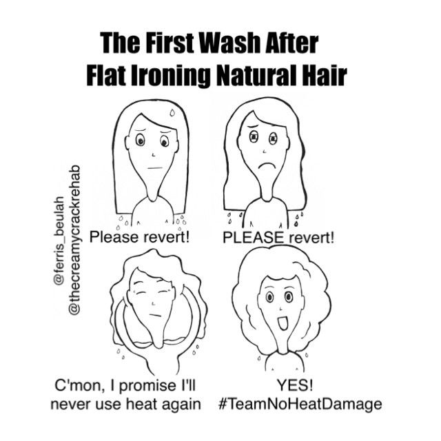 The first wash after flat ironing natural hair.