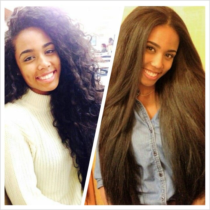 natural hair from curly to straight