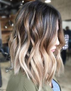 Trendy Hair Color Highlights Dark Brown To Creamy Blonde Ombre