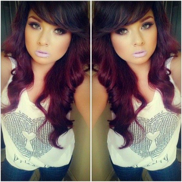trendy hair color highlights dark brown and violet red hair