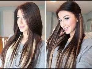 Dark brown hair with blonde highlights underneath♥ And highlight with extensio...