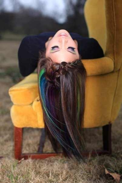 Dark brown hair with green and blue highlights! that is so cool! but i'm not...