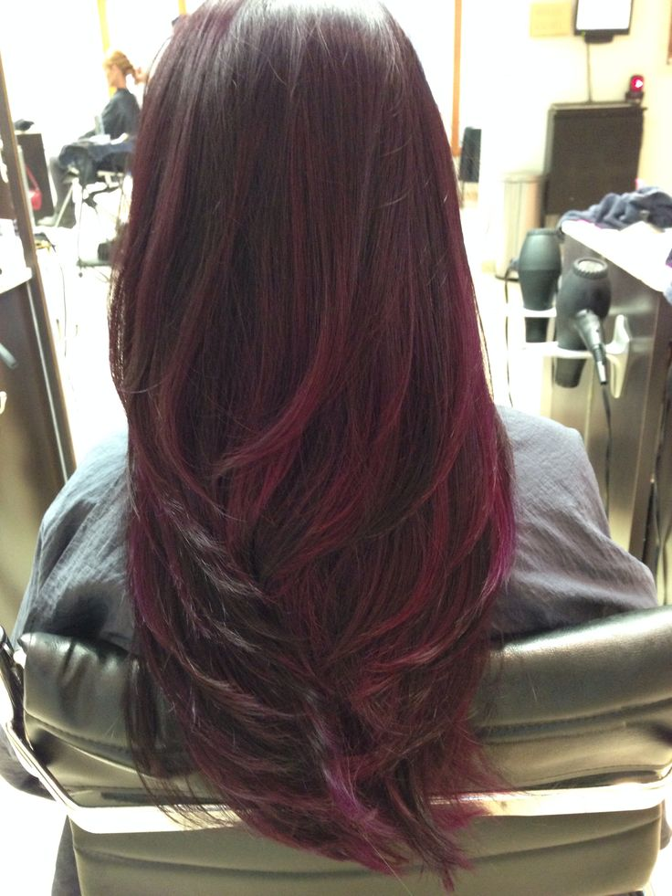 Trendy Hair Color Highlights Dark With Red Wine Ombre With Tint