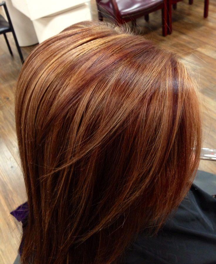 auburn hair with highlights | Auburn with Carmel highlights!   Love the color, n...