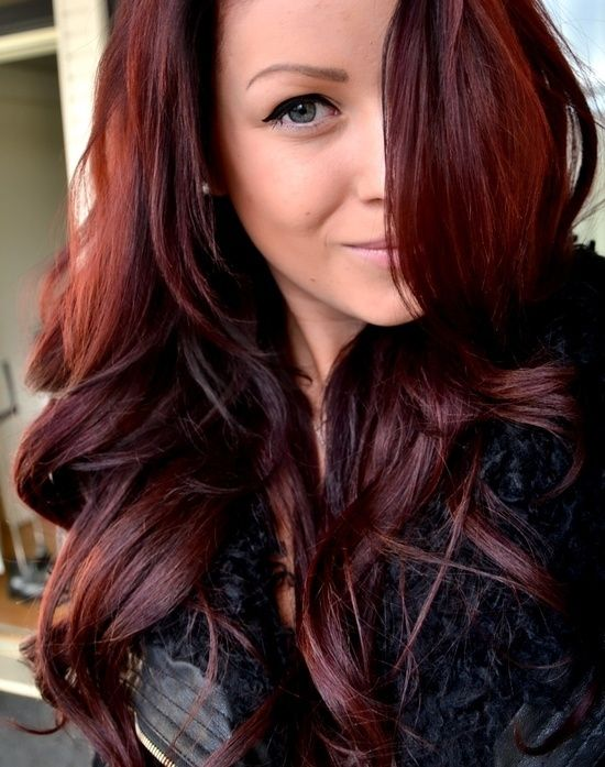 red hair glaze on dark brown hair | Love this color!! John Frieda 4R Dark Red Br...