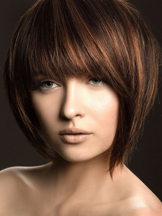 Chocolate Brown Base Red Highlights Short Hair