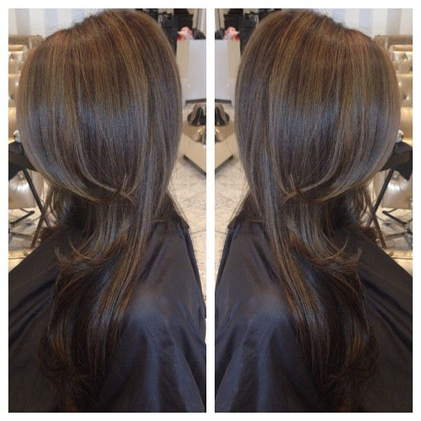 Chocolate brown hair colour with dark caramel highlights gives a very, soft natu...