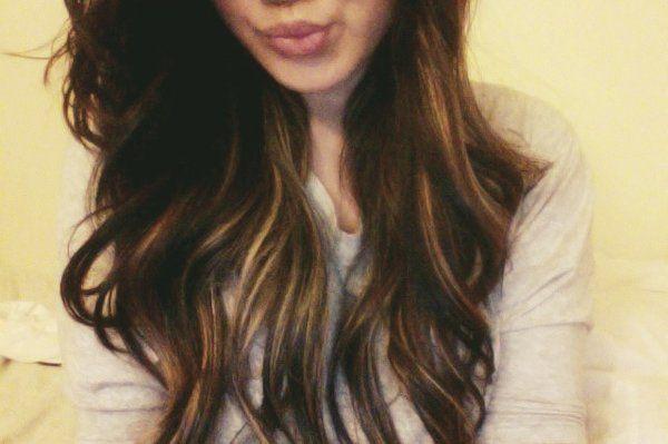 Deep brunette with caramel peek a boo highlights