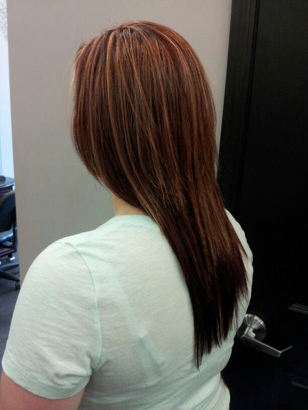 Partial blonde highlight and garnet red hair color
