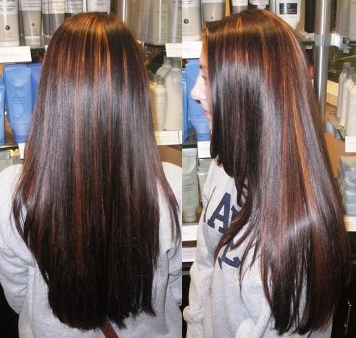 warm partial highlights in a deep rich brunette color using Wella colors and lig...