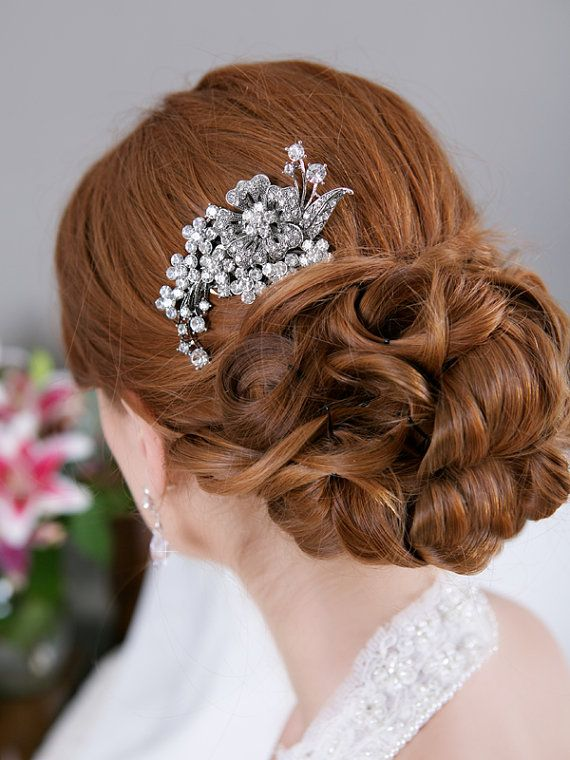 Crystal Hair Comb Rhinestone Bridal Hair comb by GildedShadows