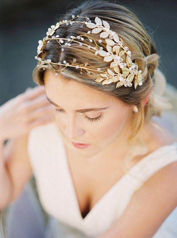 Gilded gold leaves triple headband gold metal by GildedShadows
