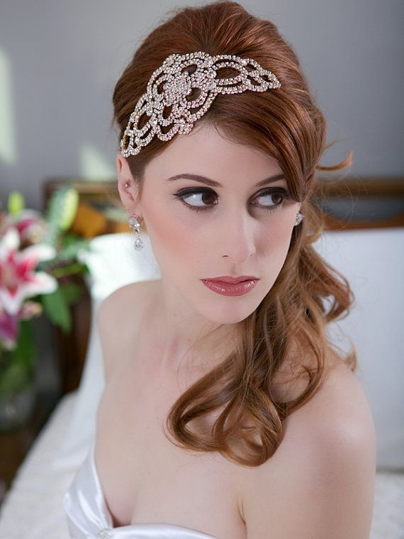 Wedding Hairstyles : Rose Gold Crystal Gold Headpiece Silver Crystal ...