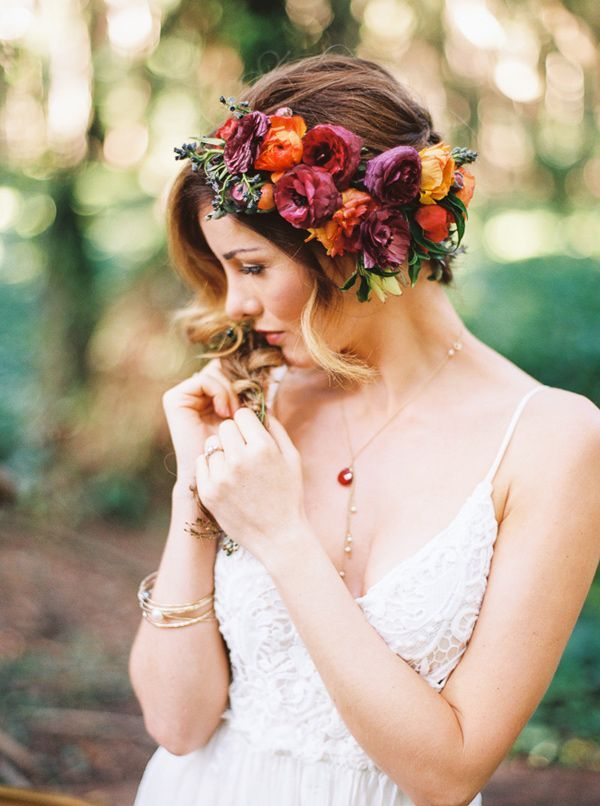 bohemian forest wedding ideas - boho hairstyle with bridal flower crown
