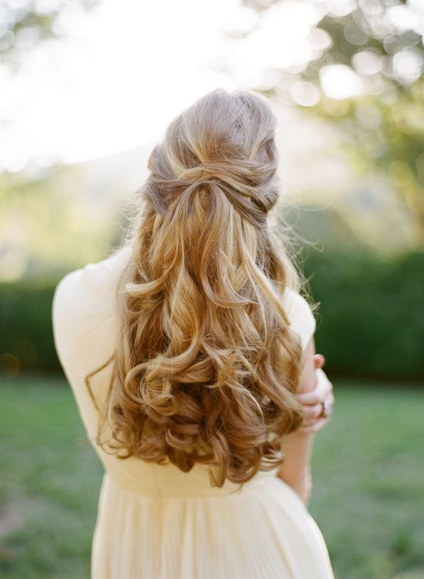 half up half down elegant wedding hairstyle for long hair