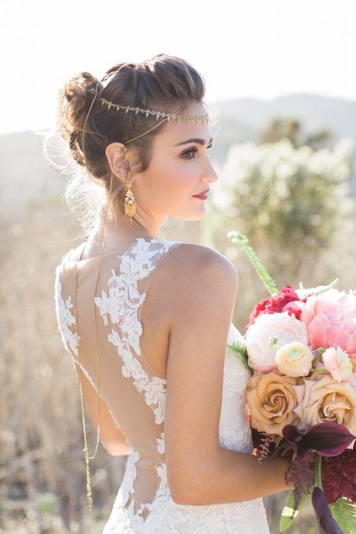 stylish illusion lace wedding dress; photo: Carlie Statsky