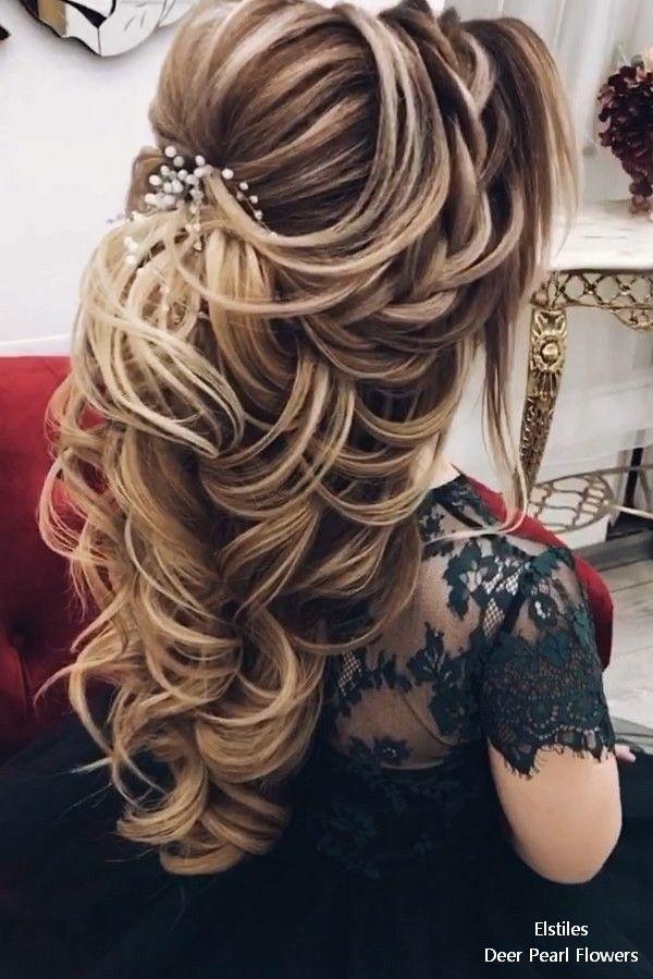 Elstiles long wedding hairstyles for bride #weddings #hairstyles #bridalhairtsyl...