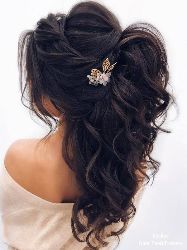 Elstiles long wedding hairstyles for bride #weddings #hairstyles #bridalhairtsyl...