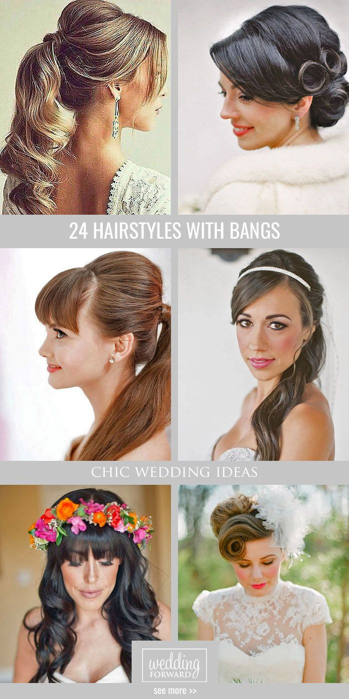 Bridal Hairstyles 24 Chic Wedding Hairstyles With Bangs Wedding