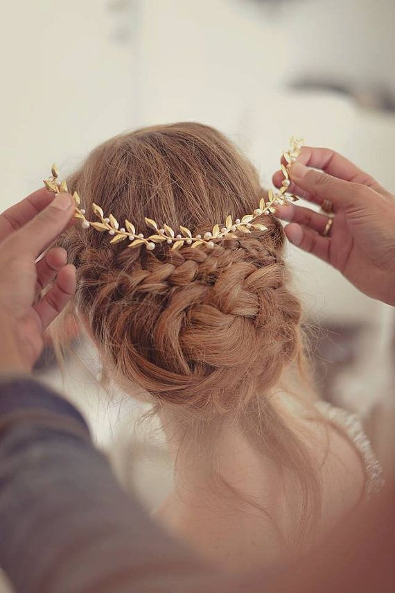Gentle Gold Leafs Hair Wreath Crown Wedding Headband