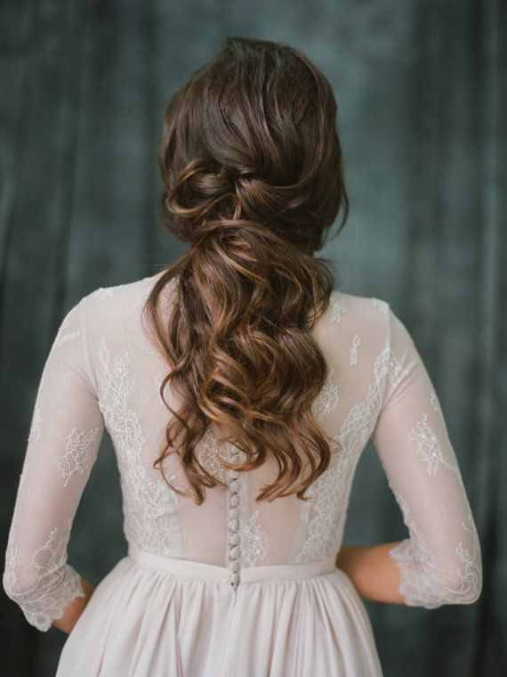Bridal Hairstyles Non Corset Lace Lavender Wedding Dress With A