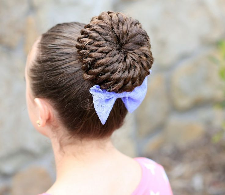 Rope-Twist Pinwheel Bun for Little Girl