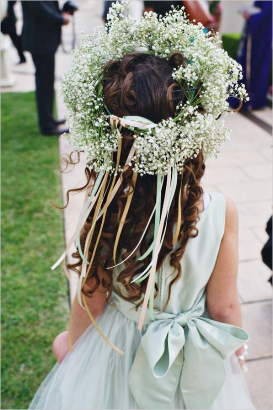 baby breath flower girl crown / www.deerpearlflow...