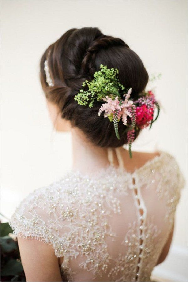 flower accented wedding hair