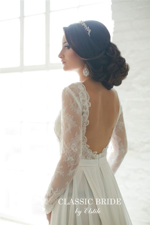 Bridal Hairstyles Low Boho Wedding Updo With Open Back Wedding
