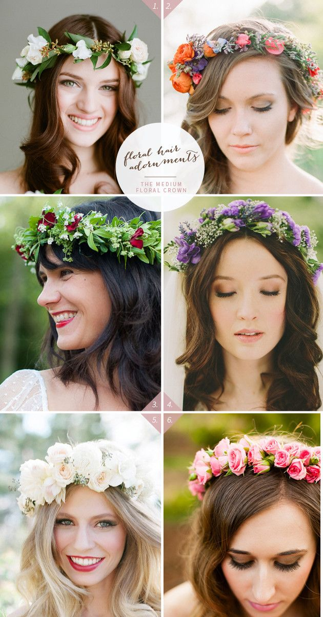 simple wedding hairstyles with flower crown