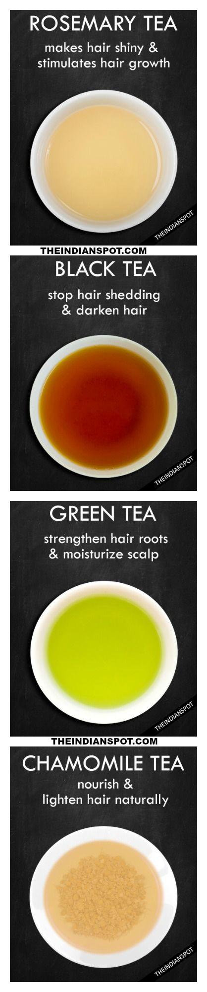 Rosemary, black, green tea for hair