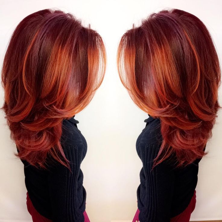 Trendy Hair Color Highlights This Vibrant Firey Red Look Was