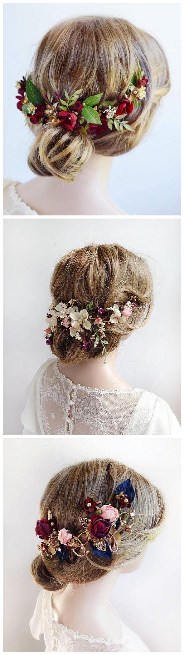 burgundy headpiece, floral hair piece, burgundy hair clip, bridal headpiece, bur...
