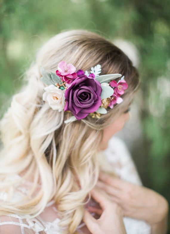plum wedding hair clip purple hair clip plum hair