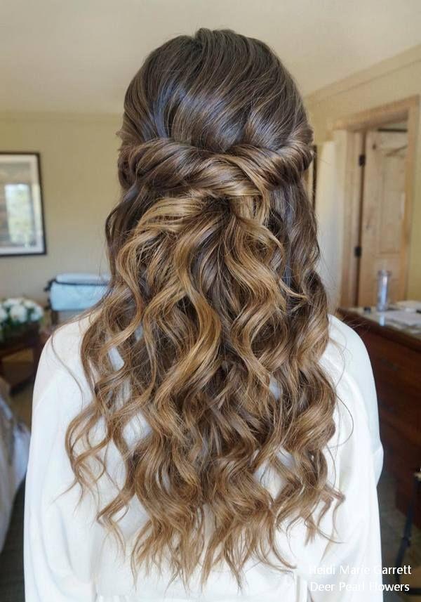 Half up half down wedding hairstyles from Heidi Marie Garrett #weddings #hairsty...
