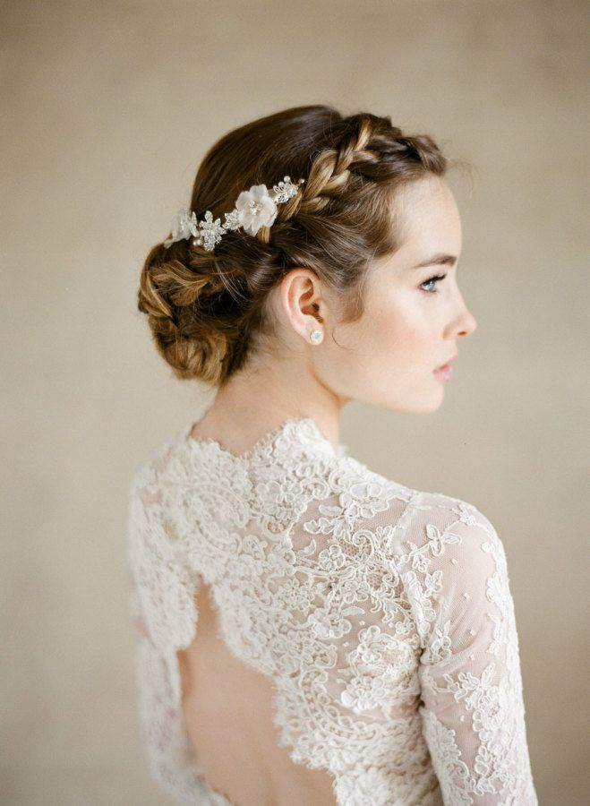 Bridal Hairstyles Lace Open Back Long Sleeve Wedding Dress