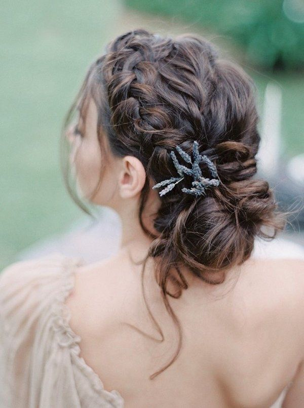 braided updo wedding hairstyle with lavender / www.deerpearlflow...
