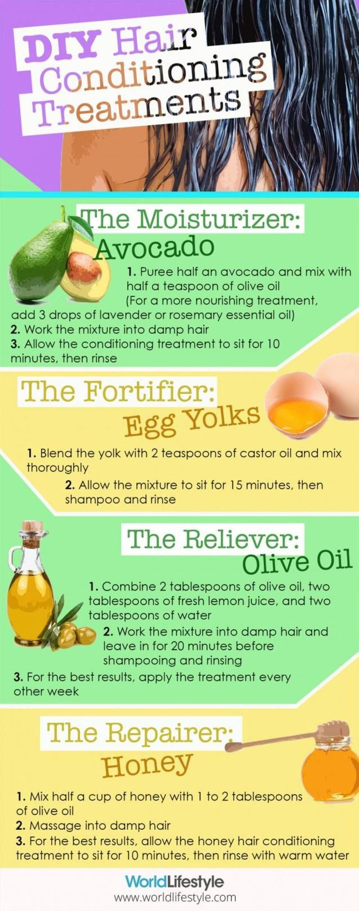 4 DIY All Natural Hair Treatments using ingredients that target common hair trou...