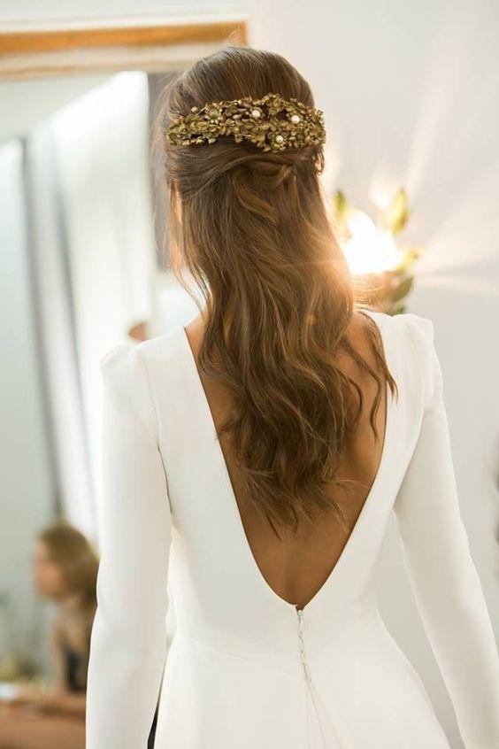 Wedding Hairstyles Backless Long Sleeve Wedding Dresses And Half