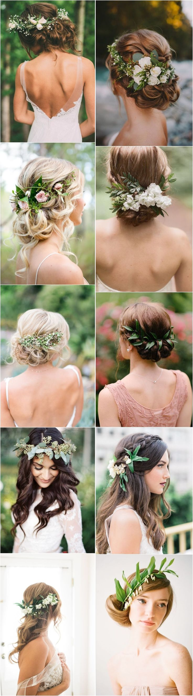 Greenery wedding hairstyles and wedding updos with green flowers / #wedding #wed...