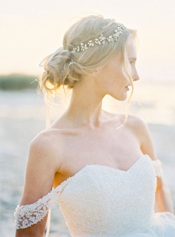 Bridal Hairstyles Loose Bridal Bun Hairstyle And Off The Shoulder
