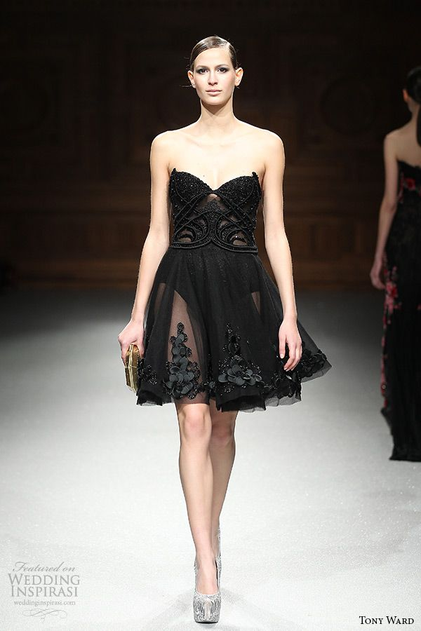 tony ward couture spring summer 2015 runway strapless sweetheart neckline black ...