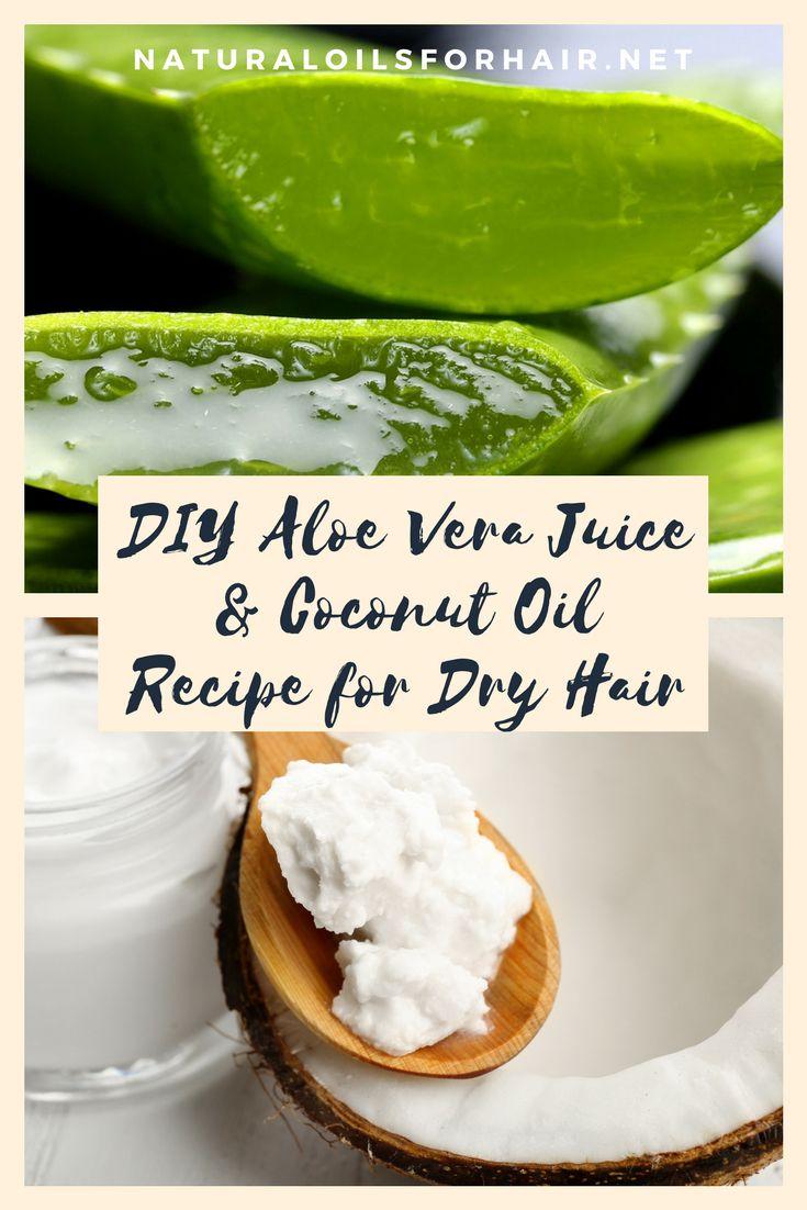 DIY Aloe Vera Juice and Coconut Oil Recipe for Dry Hair. #hair #haircare #health...