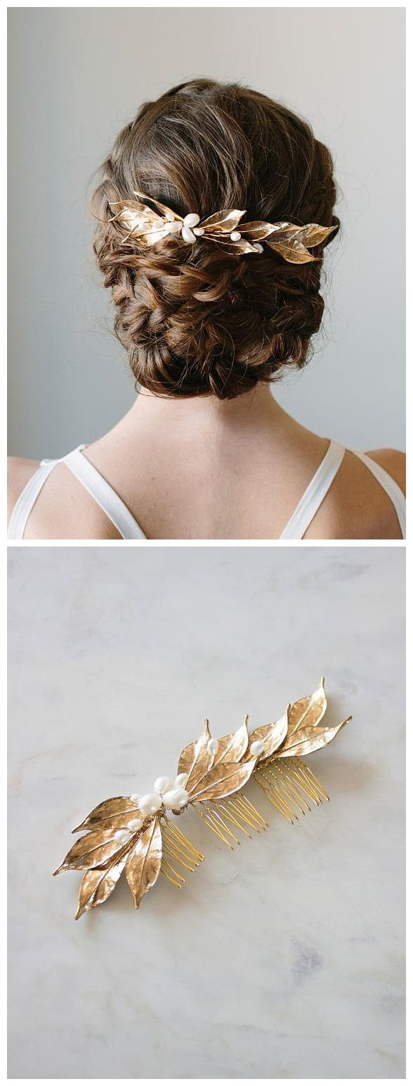 Gold Leaf Hair Comb | Bridal Vine Headpiece | Wedding Hair Piece | Leaf Hairpiec...